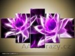 Obraz 5D - 150x80cm - fialové květiny abstrakce