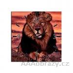 Obraz s hodinami 30x30cm vzor lev - král zvířat