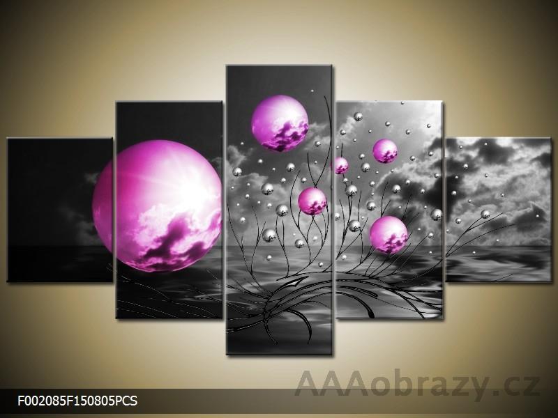 Obraz Abstrakce fialová - 5D 125x70cm