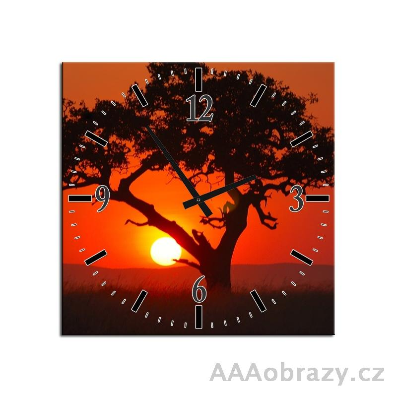 Obraz s hodinami 30x30cm vzor strom a západ slunce