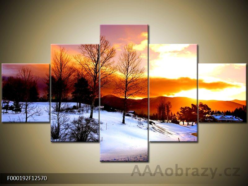 Obraz 5D - 125x70cm - Zimní období - západ slunce - Nádherný