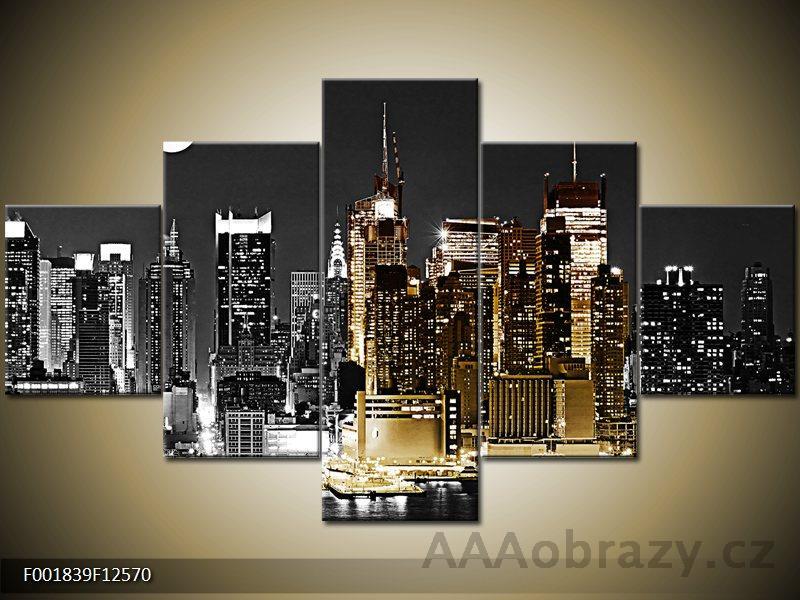 Obraz 5D - 125x70cm - NEW York - noční město