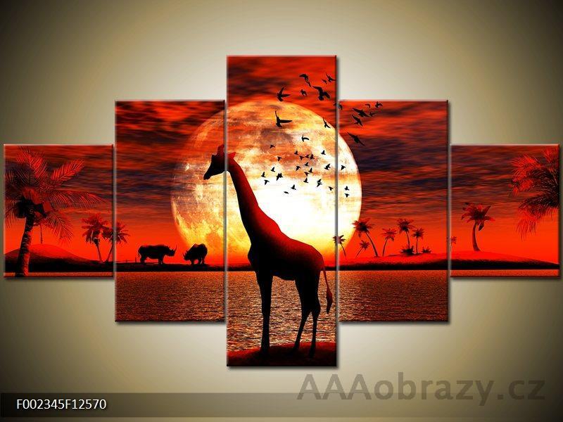 Obraz 5D - 125x70cm - vzor Afrika, žirafa, západ slunce