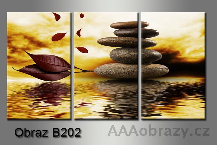 Obraz 3D relaxační kameny 150x100cm vzor 202, západ slunce, voda