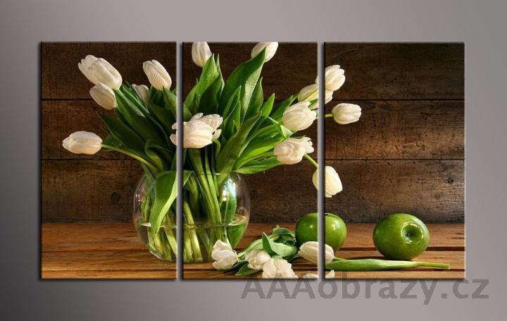 Obraz na plátně 3D 105x70cm zelené jablko a tulipán