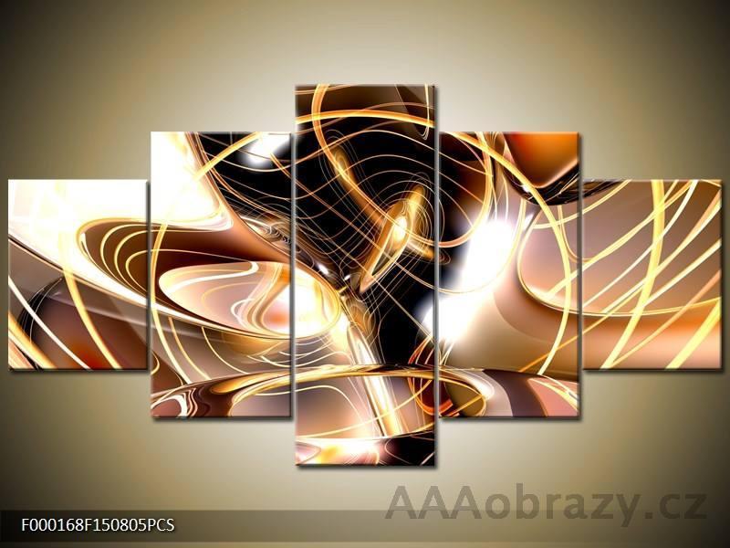 Moderní obraz 5D 125x70cm - abstrakce hnědá
