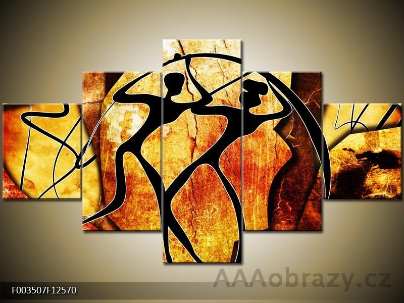 Obraz 5D - 125x70cm - abstrakce hnědo - oranžová