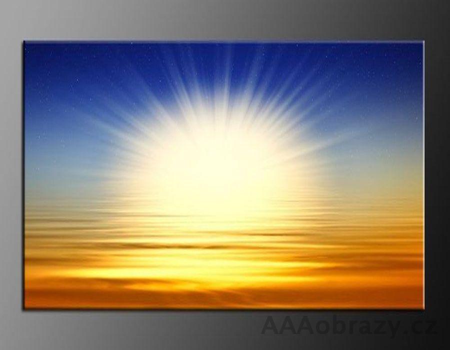 LED obraz 80x60cm vzor moře, sluneční záře, východ slunce na obzoru