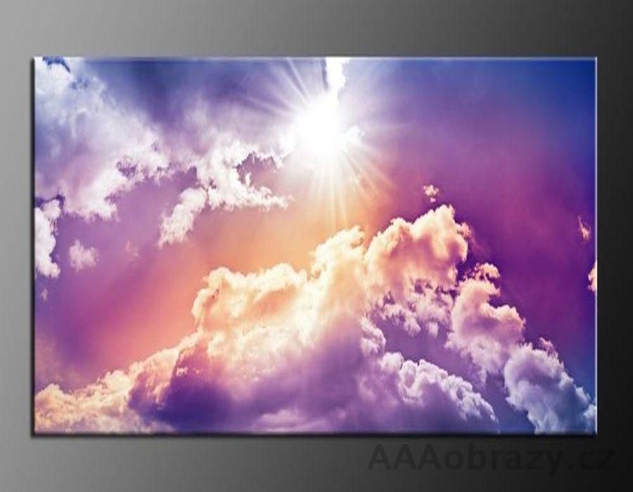 LED obraz 80x60cm vzor 835 obloha, mraky a slunce