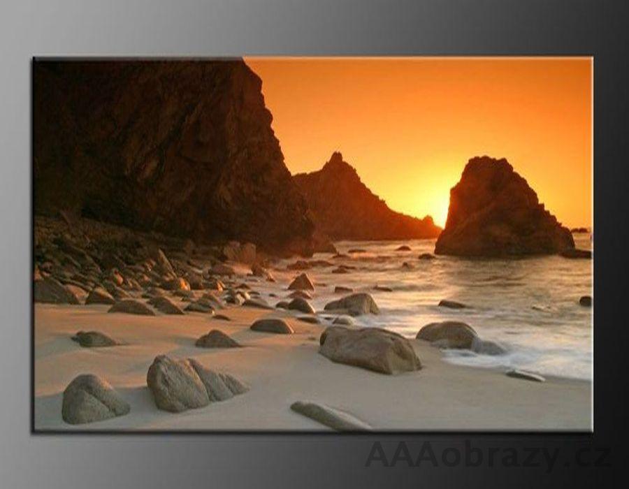 LED obraz 100x70cm vzor 413 pláž, moře, západ slunce