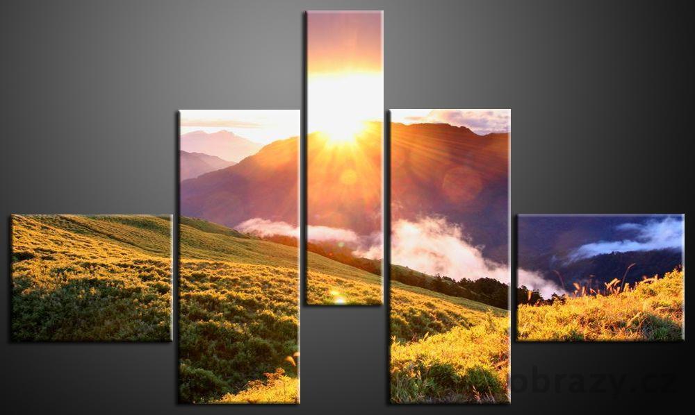 Pětidlné obrazy 140x80cm vzor 594 hory a východ slunce